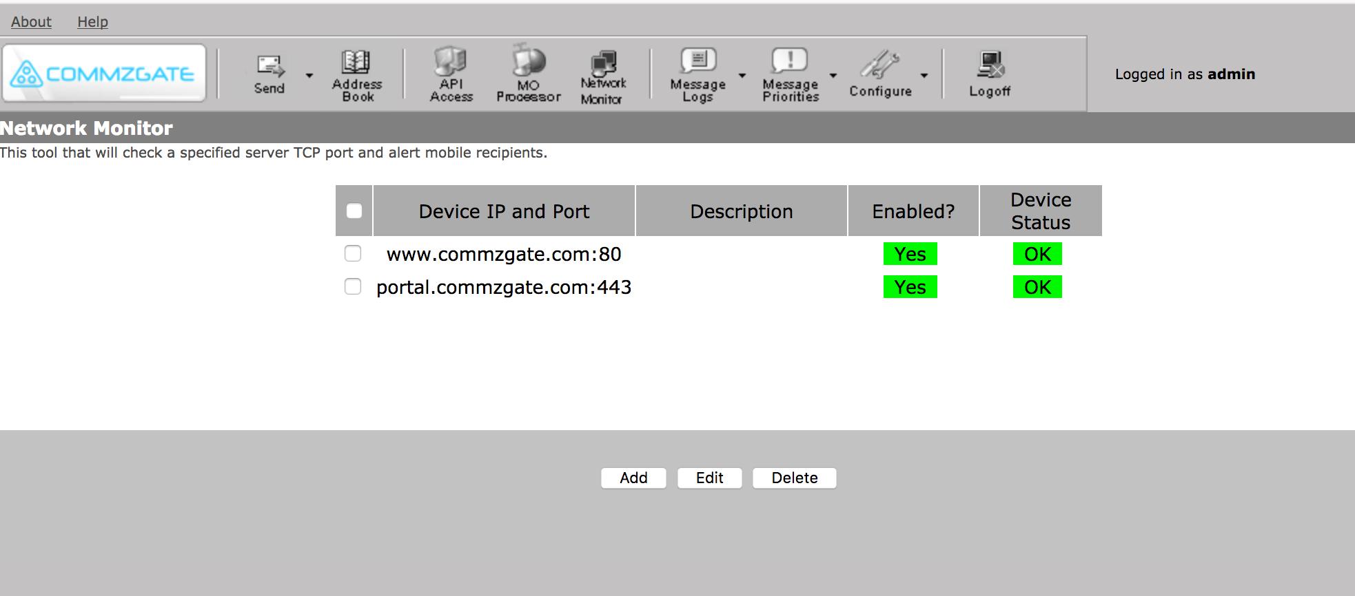 CommzGate Enterprise SMS gateway hardware appliance, On