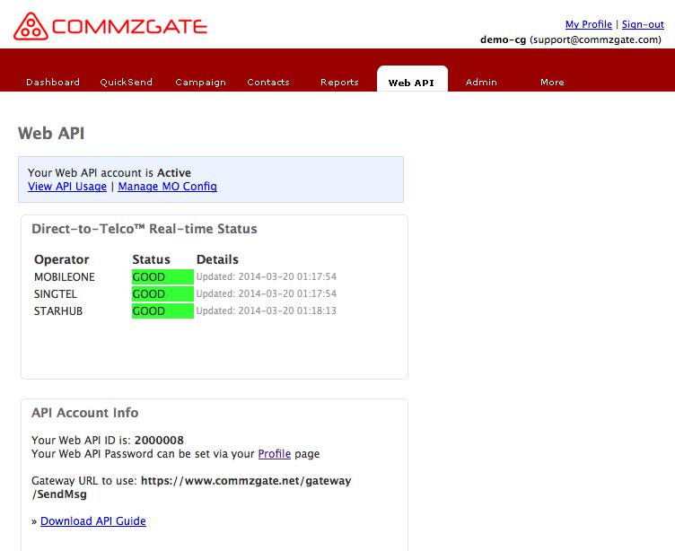 CommzGate Cloud API