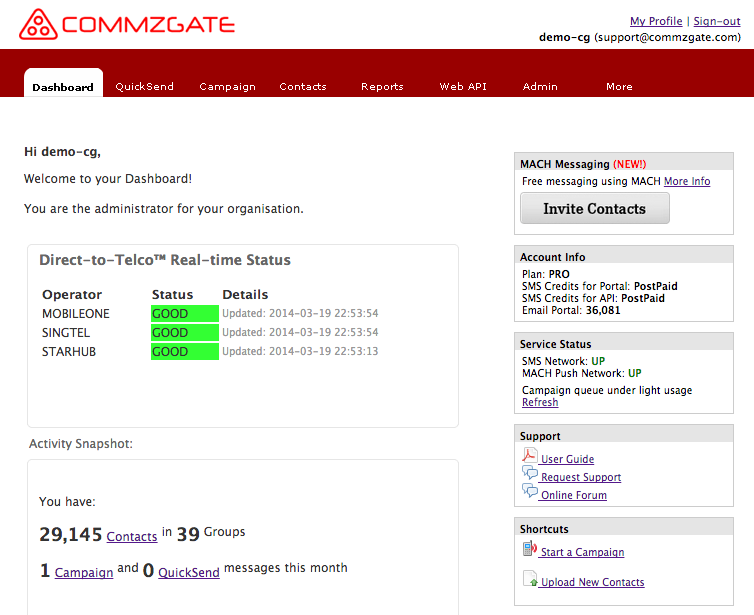 CommzGate Cloud Dashboard